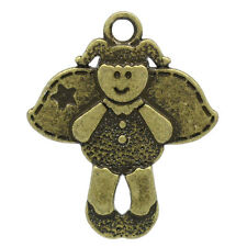 30 ANTIQUE BRONZE ANGEL FRIEND CHARM/PENDANT SPANISH INSCRIBED 23x19mm  (96F) UK