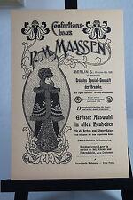Konfektionshaus Maasen Berlin - Werbetafel um 1900 -  selten!