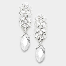 "LUXE Glam Rare Silver Crystal HUGE 3"" Cocktail Bridal Earrings By Rocks Boutique"
