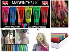 6x UV Glow Neon Face Paint Body Paints & 12x Temporary Hair Dye Colour Chalks