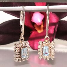 Vintage 14k white gold natural Aquamarine & Diamond lever back dangle earrings
