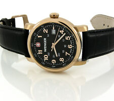 WENGER MEN SWISS MADE QUARTZ SAPPHIRE 41mm ROSE GOLD LAYERED LEATHER 01.1041.108