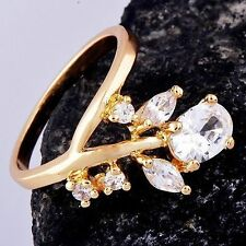 trendy Womens 14K gold filled Clear CZ Leaf Type engagement Ring lot Size 6
