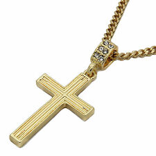 """Mens 14k Gold Plated Line Cross Pendant With 30"""" inches Cuban Necklace Chain"""
