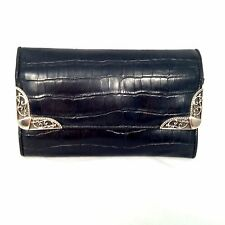 Bueno Black Leather Silver Tone Accented Clutch Wallet Coin Cards Organizer 7x5