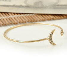 Ladies Girls Elegant Bangle Gold Moon And Star Design Opening Cuff Bracelet Gift