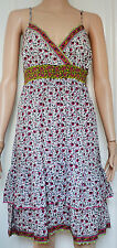 New Monsoon size 12 Ethnic Boho Floral Summer Ivory Pink Green Cotton Dress