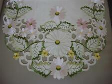 "16""x36"" Embroidered Table Runner Topper Tablecloth Spring Floral Daisy cutwork"