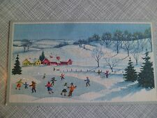 Vintage Christmas Greeting Card~Children Ice Skating Snowy Farm Scene Glitter