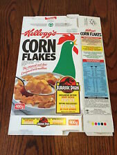 Jurassic Park 1993 Kellogg's Corn Flakes Cereal Box  Original Movie RARE