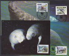 V1858 guyana/WWF 1993 clavo-Manati MiNr 4081/84 a 4 maxicard