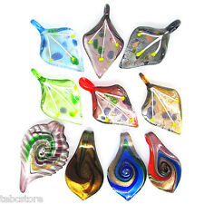 10x Clearance Sale Womens Jewelry Murano Glass Pendants Swirls Leaf For Necklace