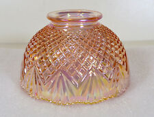 Vintage Fenton Marigold Iridescent Fairy Lamp Carnival Glass Diamond Point Shade