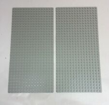 "Lot of 2 Lego Baseplates - Light Gray -  10""X 5"" / 32 X 16 Studs /Good Condition"
