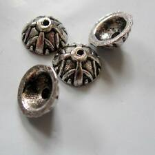 9mm Bali Style Antique Silver Acorn Bead Caps, Half Round, THIRTY Nickel Free