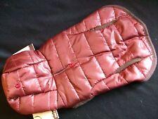 Pet Dog Puppy Coat Jacket Worm Winter Costume Hood Snap Red Medium Brown Trim