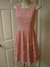 NEEDLE & THREAD INDIA SALMON PINK EYELET EMBROIDERY LACE RETRO 50'S DRESS XS S 6