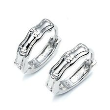 18k White Gold Filled Unique Bone Earrings 14mm Womens Hoop Fashion Jewelry