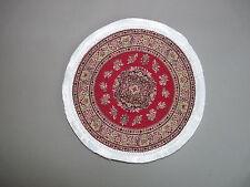 Teppich GEWEBT Rund Grundfarbe rot 19 cm Puppenstube 1:12