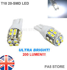 2x 20 SMD LED 501 T10 W5W XENON WHITE SIDE LIGHTS NUMBER PLATE BULBS 6000K UK
