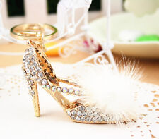 W Shoe High-heel White Feather Crystal Charm Pendant Bag Purse Keyring Key Chain