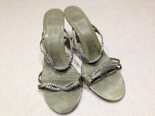 M&S EVENING/BRIDE MAIDS OLIVE GREEN SANDALS SHOES SZ 7.5 WITH DIAMANTE  STRAPS