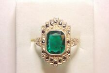 Vintage Art Deco Sterling Silver Emerald Green Glass & Marcasite Ring Size 5.75