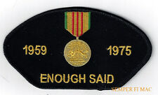 VIETNAM WAR VETERAN ENOUGH SAID HAT PATCH US ARMY MARINES NAVY AIR FORCE PIN UP