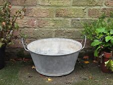 Vintage Industrial Old Small Galvanised Metal Tub Garden Planter Pot. #4532