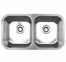 NEW Under Mount Whitehaus Noah Brush Steel Double Bowl Kitchen Sink 31x18x9 OD