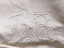 Stunning French Cotton Monogram embroidered sheet L R Drawn thread