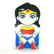 Cover CUSTODIA per APPLE IPHONE 4 / 4S Silicone 3D SUPEREROI WONDER WOMAN