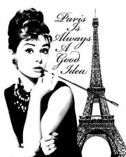 Audrey Hepburn Paris Is Always A Good Idea Pop Art Canvas 16 x 20