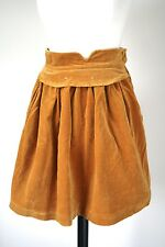 Vintage 1980s Flared velvet mini skirt - Mustard Yellow Velvet -  UK 6