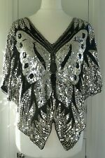 Vintage sequin & silk blouse top silver black M butterfly