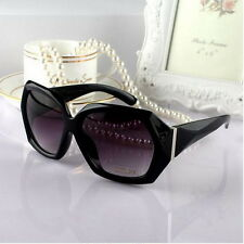 Ladies Crystal Black Frame Sunglasses Shades Oversized Women Large Big Fashion F