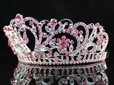 A89193 PINK AUSTRIAN RHINESTONE CRYSTAL TIARA CROWN BRIDAL PROM PAGEANT PARTY
