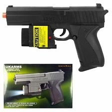 "UK ARMS 7.5"" Black Plastic Airsoft Pistol Hand Gun Laser M555af 105FPS +1000 BBs"