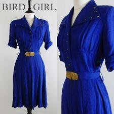 ORIGINAL WW2 1940S VINTAGE BLUE STUD TRIM EMBOSSED BUCKLE LANDGIRL WREN DRESS 12