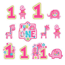 12 Wild Fun To Be One Pink Girl's 1st Birthday Party Cutout Wall Decorations