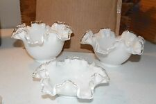 Set of 3 Fenton Silver Crest Bowls, Ruffled Edge, White & Clear Glass, Vintage