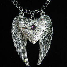 Silver Angel Wing Heart Amethyst Picture Locket Pendant Long Necklace