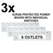3 X NEW 6 WAY SURGE PROTECTOR POWER BOARD WITH INDIVIDUAL SWITCHES - 6 OUTLET