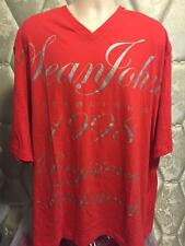 New Sean John Logo Big and Tall V Neck T Shirt 3XL 3X 3XB Red Silver