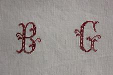 Vintage French linen sheet BG monogram LOVELY grey gray tone