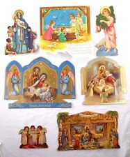 Vintage Lot of 7 Die Cut Christmas Card Stand-ups Nativity Religious Christian