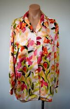 TOMMY BAHAMA Women's 100% Silk Long Sleeve Button Down Shirt Blouse Floral sz M