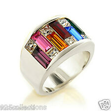 925 Sterling Silver LGBT Multi Rainbow Gay Pride Crystal Lady Ring Band Size 7