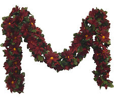 BURGUNDY ~ DAISIES Chain Garland ~ 5 ft Silk Wedding Flowers Arch Gazebo Decor