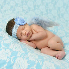 Newborn Baby Feather Lace Flower Headband & Angel Wings Photograph Props Costume